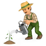 3D Gardener watering a small plant. Growth concept Royalty Free Stock Images