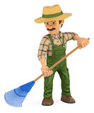 3D Gardener working with a rake. 3d working people illustration. Gardener working with a rake. White background stock illustration