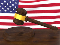 3d gavel and american flag Stock Image