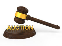 3D gavel with auction text Stock Photography