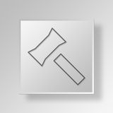 3D Gavel Button Icon Concept Stock Image