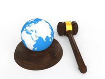 3d gavel and earth globe Stock Photos
