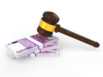 3d gavel and euro currency Stock Photo