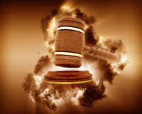 3D gavel image with storm effect Stock Image