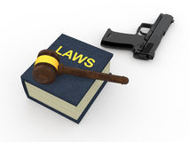 3d gavel with law book and handgun Royalty Free Stock Photography