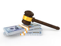 3d gavel and money Stock Images