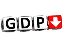 3D Gdp button block cube text Stock Image