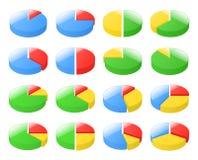 3d geëxplodeerde cirkeldiagrammen Royalty-vrije Stock Afbeelding