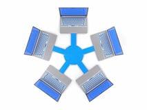 3D Geïsoleerd Netwerk LAN Data Laptops Informatiegroepswerk Conce Stock Foto
