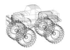 3D geïsoleerde blauwdruk van de monstervrachtwagen - Stock Fotografie