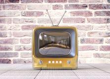 3d Geïsoleerde Gouden Kleine TV-Televisie stock illustratie