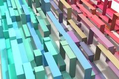 3D Ge?llustreerde Pastelkleurregenboog kleurde Geometrische Lintachtergrond royalty-vrije stock foto
