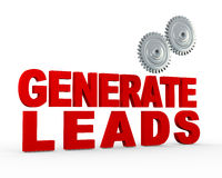 3d gear - generate leads. 3d illustration of phrase genrate leads and gears