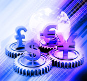 3d gear with global currency Stock Photography