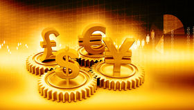 3d gear with global currency Stock Image