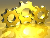 3D Gear Gold Sign Royalty Free Stock Photo