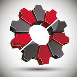 3d gear icon with black and red elements. Stock Photos