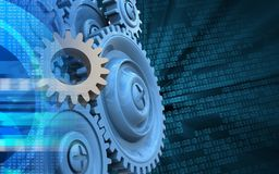 3d gear. 3d illustration of gear over binary background with blue gears Stock Photo