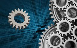 3d gear. 3d illustration of gear over binary background with mechanic Stock Images
