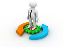 3d gear target with business man Stock Photo