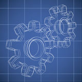 3D gear wheel sketch. Drawing on blueprint background Stock Images