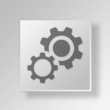 3D Gears Button Icon Concept Stock Image