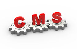 3d gears cms concept. 3d illustration of gears and cms content management system Stock Image