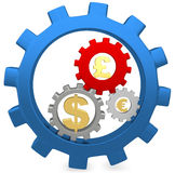 3d Gears with dollar, pound and euro signs Stock Photos