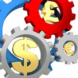 3d Gears with dollar, pound and euro signs Royalty Free Stock Photography