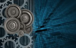 3d gears. 3d illustration of gear wheels over binary background with gears Stock Photography