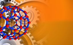 3d gears. 3d illustration of molecular structure over orange background with gears vector illustration