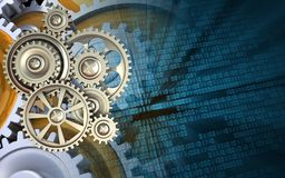 3d gears. 3d illustration of gears over binary background with gears Royalty Free Stock Photos