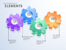 3D gears infographic elements for business purpose. 3D glossy gears infographic elements in different colors for your business reports and financial data Royalty Free Stock Photography