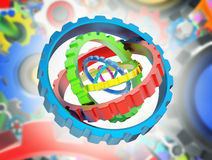 3D gears. 3D mechanism of various colorful gears stock illustration