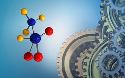 3d gears system. 3d illustration of molecule over blue background with gears system royalty free illustration