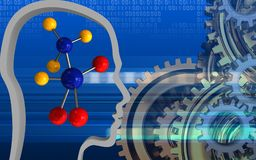 3d gears system. 3d illustration of molecule over cyber background with gears system stock illustration