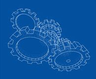 3D gears. Vector. Rendering of 3d. Wire-frame style. The layers of visible and invisible lines are separated royalty free illustration