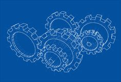 3D gears. Vector. Rendering of 3d. Wire-frame style. The layers of visible and invisible lines are separated stock illustration