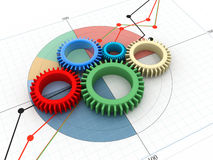 3d gears on white background Stock Photos