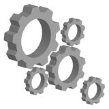 3D gears on white background. Industrial tools. Vector illustration Stock Photos