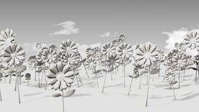 3D Gebied van bloemen en hemel Stock Afbeelding
