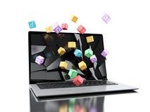 3d gebrochener Laptopschirm mit APP-Ikonen Lizenzfreie Stockfotos