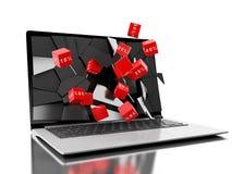 3d gebrochener Laptopschirm mit Rabattikonen Lizenzfreies Stockfoto
