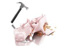 3D gebrochenes Sparschwein mit Hammer und Münzen Lizenzfreies Stockfoto