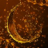 3D gedetailleerde illustratie van een daling van water gouden kleur Stock Illustratie