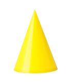 3d gedrukt model van kegel van gele printergloeidraad Op wit Stock Afbeelding