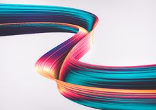 3D geef abstracte achtergrond terug Kleurrijke jaren '90stijl verdraaide vormen in motie Iriserende digitale kunst voor affiche,  Stock Fotografie