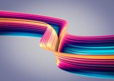 3D geef abstracte achtergrond terug Kleurrijke jaren '90stijl verdraaide vormen in motie Iriserende digitale kunst voor affiche,  Royalty-vrije Stock Afbeeldingen