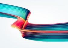 3D geef abstracte achtergrond terug Kleurrijke jaren '90stijl verdraaide vormen in motie Iriserende digitale kunst voor affiche,  stock illustratie