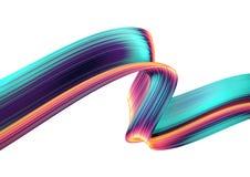 3D geef abstracte achtergrond terug Kleurrijke verdraaide vormen in motie De computer produceerde digitaal art. Stock Foto